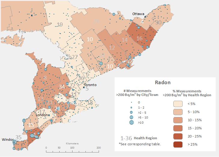 Radon gas Ontario map